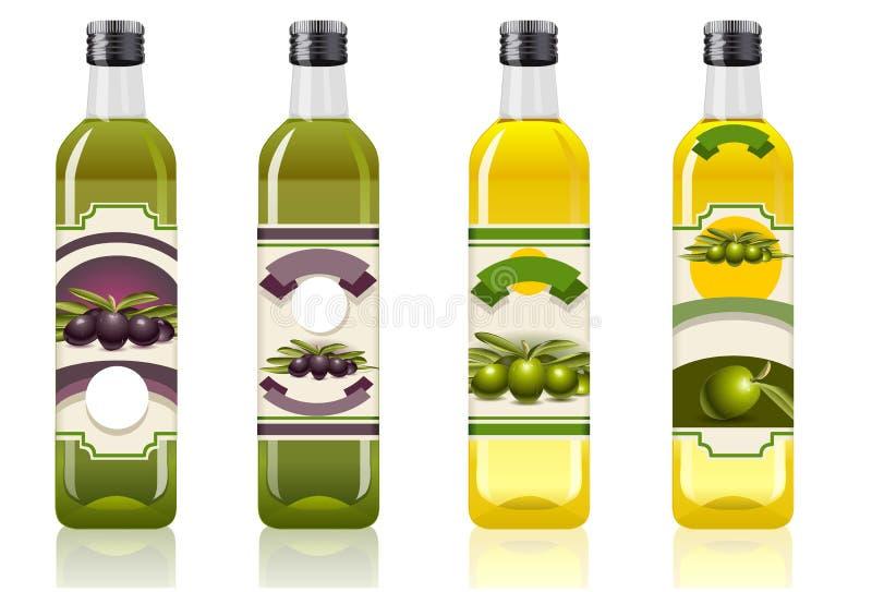 Quattro bottiglie dell'olio di oliva illustrazione vettoriale