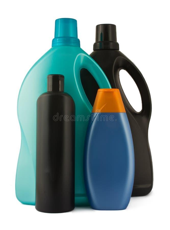 Quattro bottiglie di plastica fotografia stock