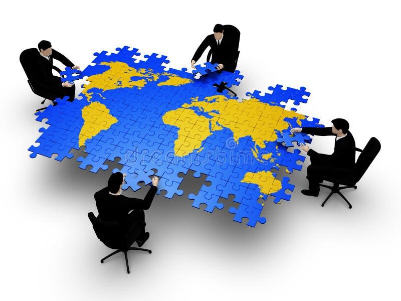 Quattro businessmans che bilding commercio del globo illustrazione vettoriale