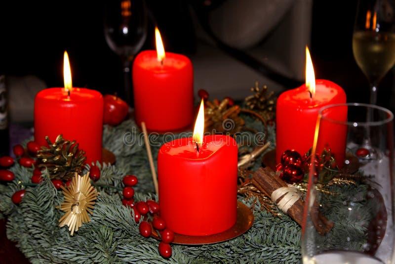 Quattro candele di arrivo fotografia stock