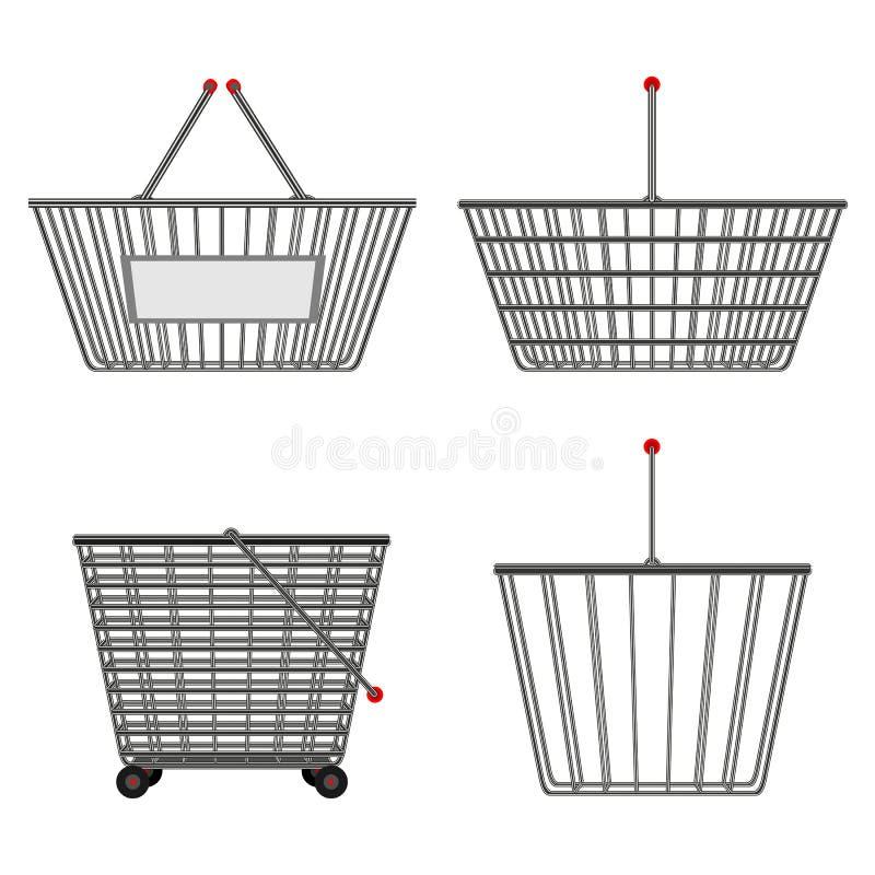 Quattro canestri vuoti del cavo metallico realistico del cromo delle forme differenti Illustrazione di vettore illustrazione di stock