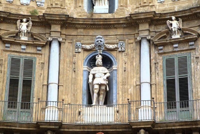 Quattro Canti, Barokke Huizen in Palermo. royalty-vrije stock afbeelding