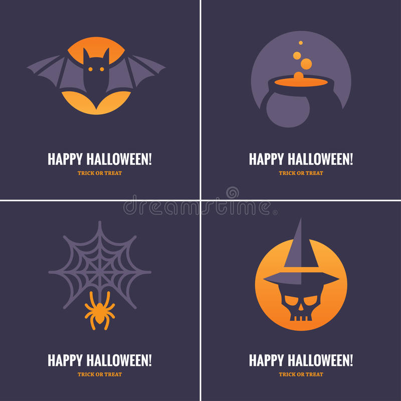 Quattro carte con i simboli di Halloween illustrazione vettoriale
