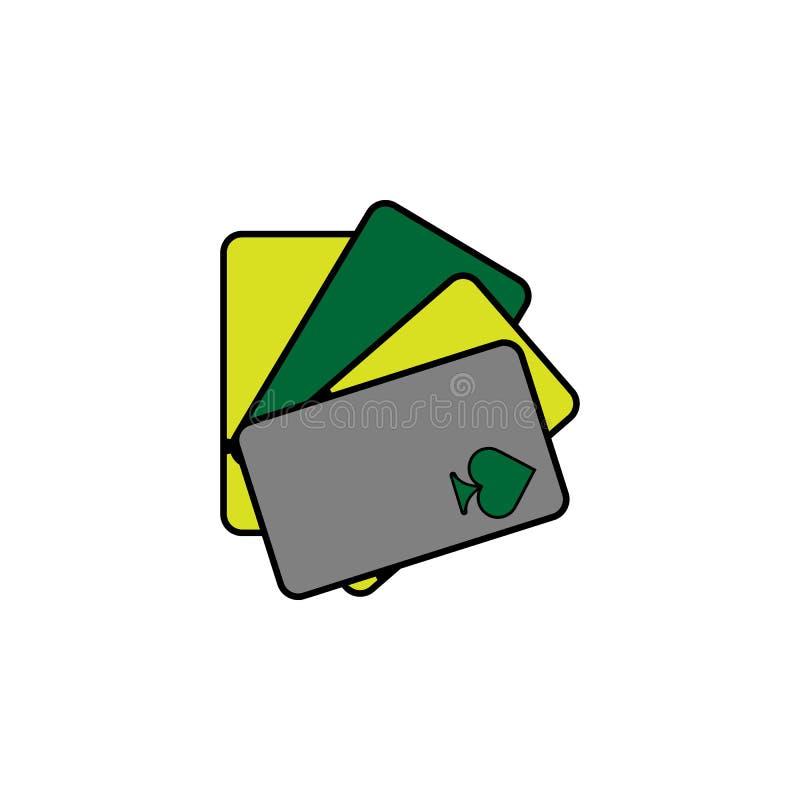 Quattro carte, cuore Elemento dell'icona del casinò per i apps mobili di web e di concetto Dettagliato quattro carte, cuore può e royalty illustrazione gratis