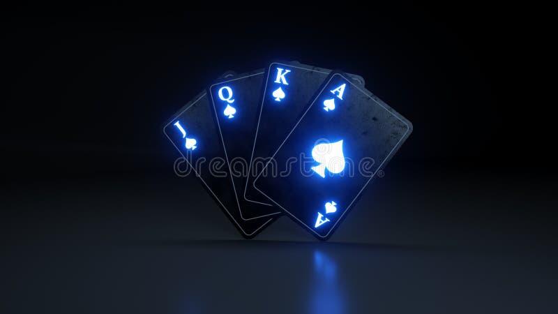Quattro carte da gioco degli assi delle vanghe con le luci al neon d'ardore isolate sui precedenti neri - illustrazione 3D illustrazione vettoriale