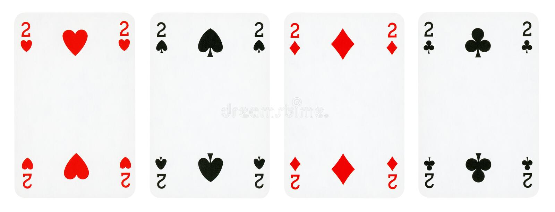 Quattro carte da gioco isolate su fondo bianco immagini stock