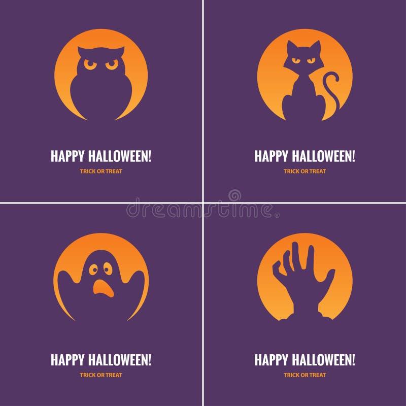 Quattro carte porpora di Halloween illustrazione di stock
