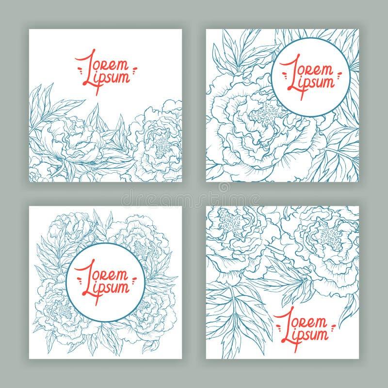 Quattro carte quadrate con le belle peonie illustrazione di stock