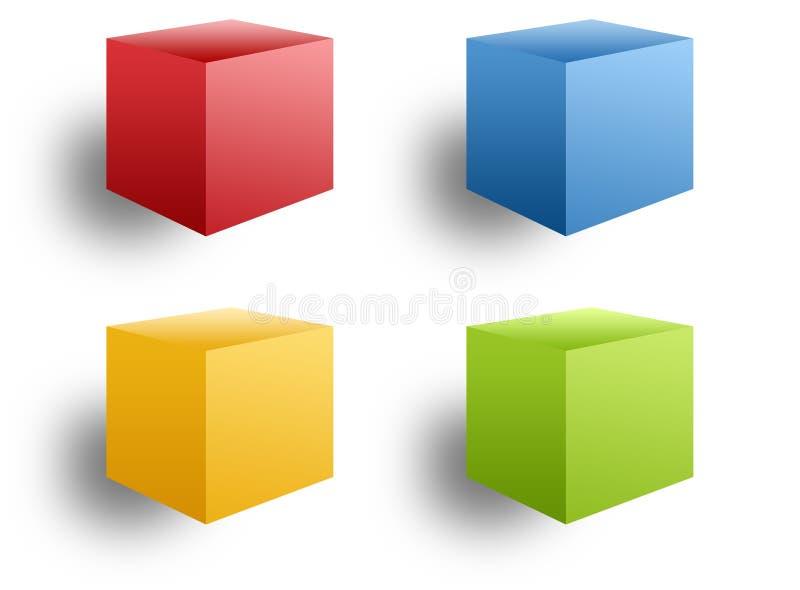 Quattro caselle colorate illustrazione vettoriale