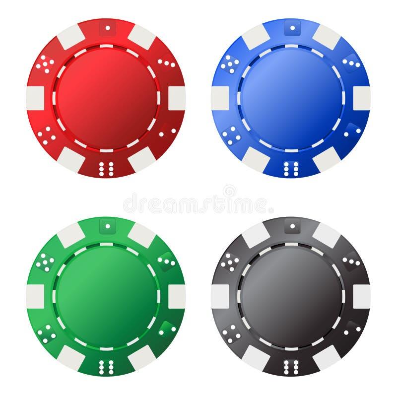 Quattro chip di gioco (rosso, blu, verde, il nero) per le vostre progettazioni isolate su fondo bianco illustrazione vettoriale