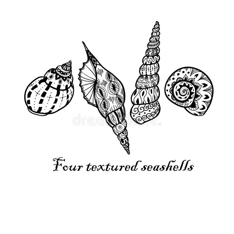 Quattro conchiglie nere di scarabocchio fotografia stock libera da diritti
