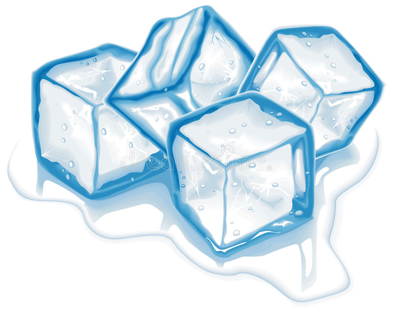Quattro cubi di ghiaccio di vettore immagini stock libere da diritti