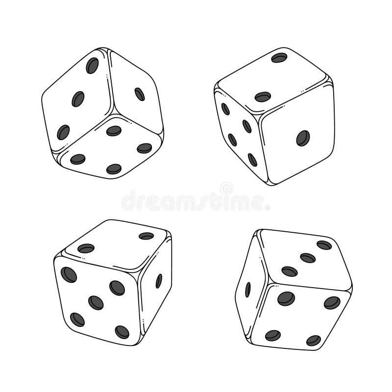 Quattro cubi stile fumetto bianchi dei dadi illustrazione vettoriale