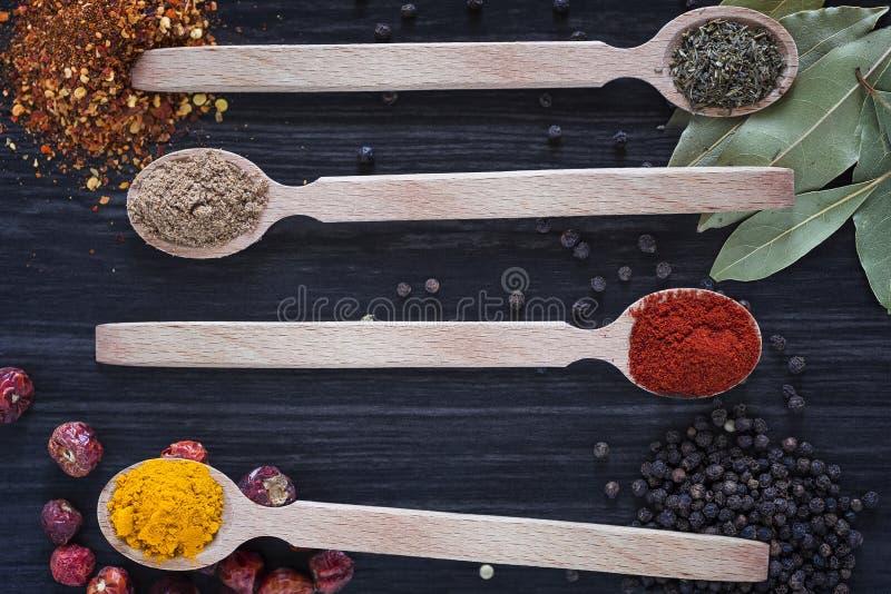 Quattro cucchiai di legno con le varie spezie fotografie stock libere da diritti