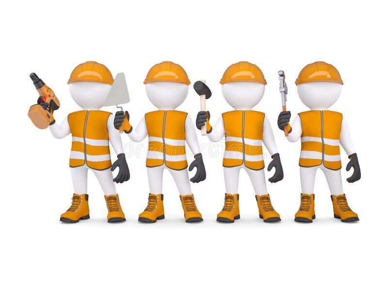 Quattro 3d bianchi equipaggiano in camici con gli strumenti illustrazione di stock