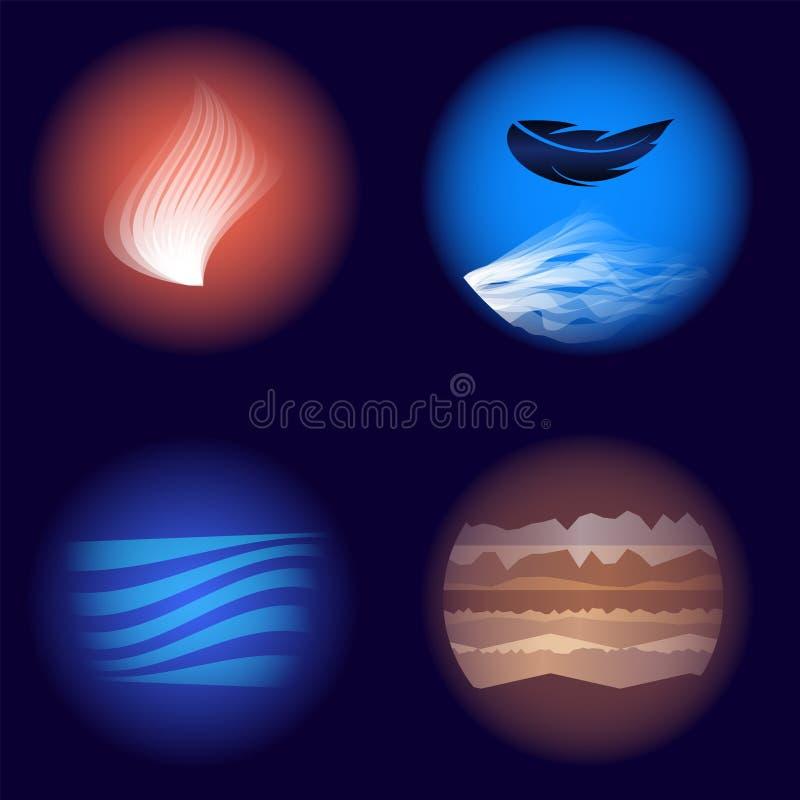 Quattro elementi dati fuoco, aria, acqua, terra della natura illustrazione di stock