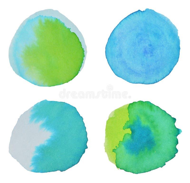 Quattro elementi rotondi dell'acquerello per la vostra progettazione illustrazione vettoriale