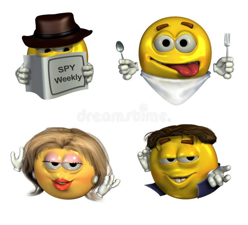 Quattro Emoticons 3D - con il percorso di residuo della potatura meccanica illustrazione vettoriale