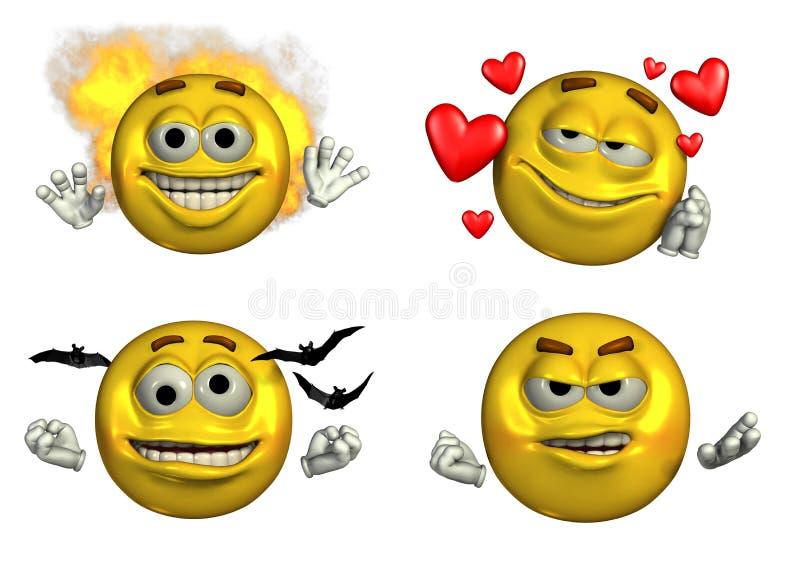 Quattro Emoticons-5 - con il percorso di residuo della potatura meccanica illustrazione di stock