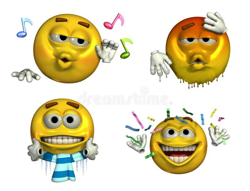 Quattro Emoticons - con il percorso di residuo della potatura meccanica illustrazione vettoriale