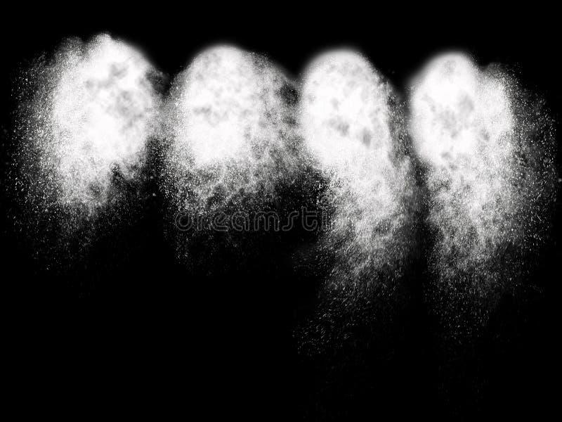Quattro esplosioni bianche differenti della particella illustrazione vettoriale
