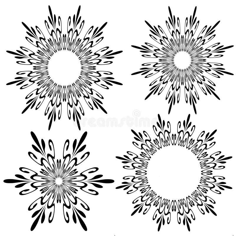 Quattro figure del fiocco di neve illustrazione di stock