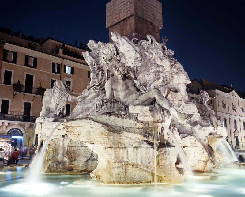 Quattro fiumi fontana, piazza Navona, Roma. fotografia stock libera da diritti
