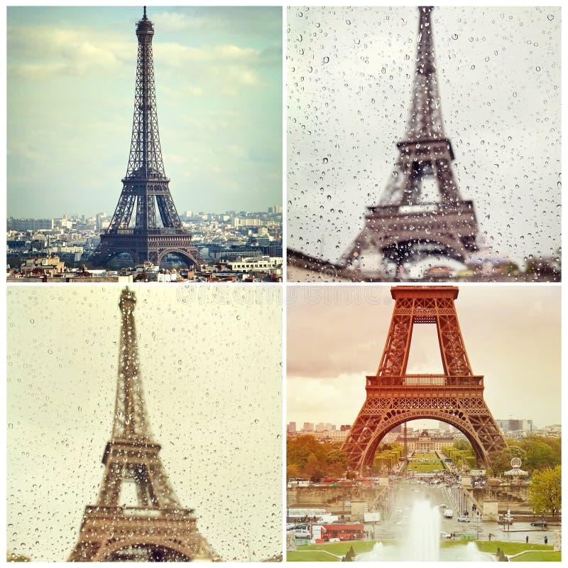 Quattro foto di alta qualità della torre Eiffel a Parigi, Francia immagini stock libere da diritti