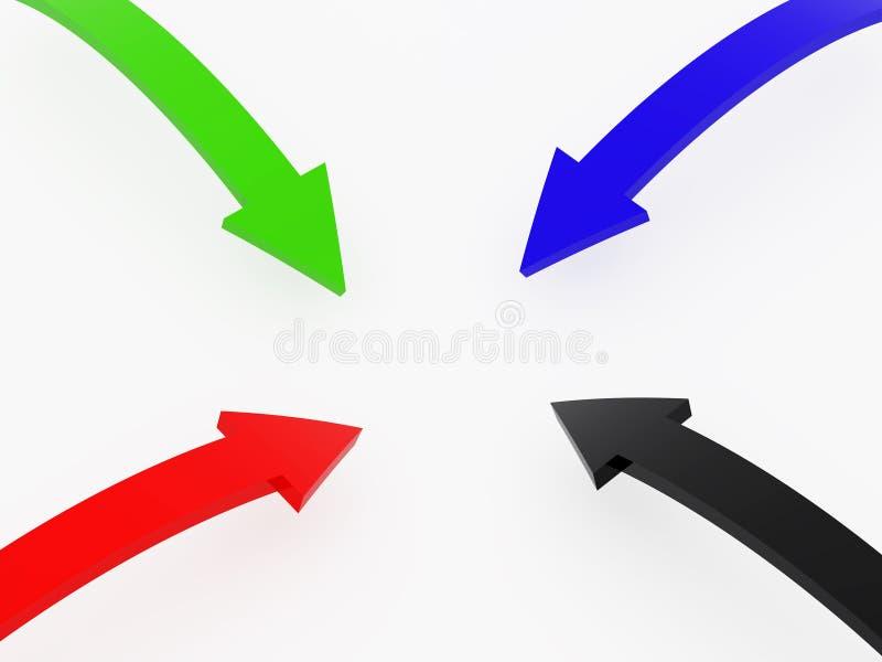 Quattro frecce multi-coloured illustrazione di stock