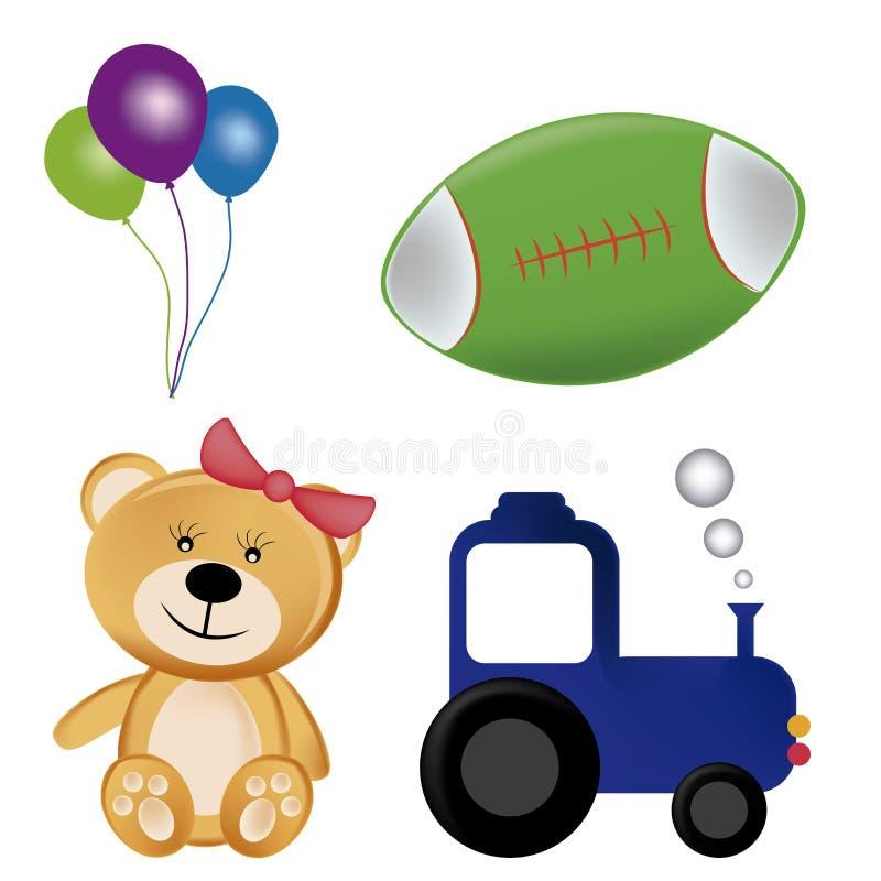 Quattro giocattoli illustrazione vettoriale