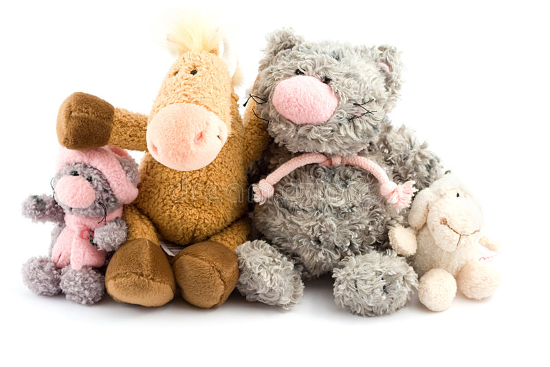 Quattro giocattoli della peluche fotografie stock libere da diritti