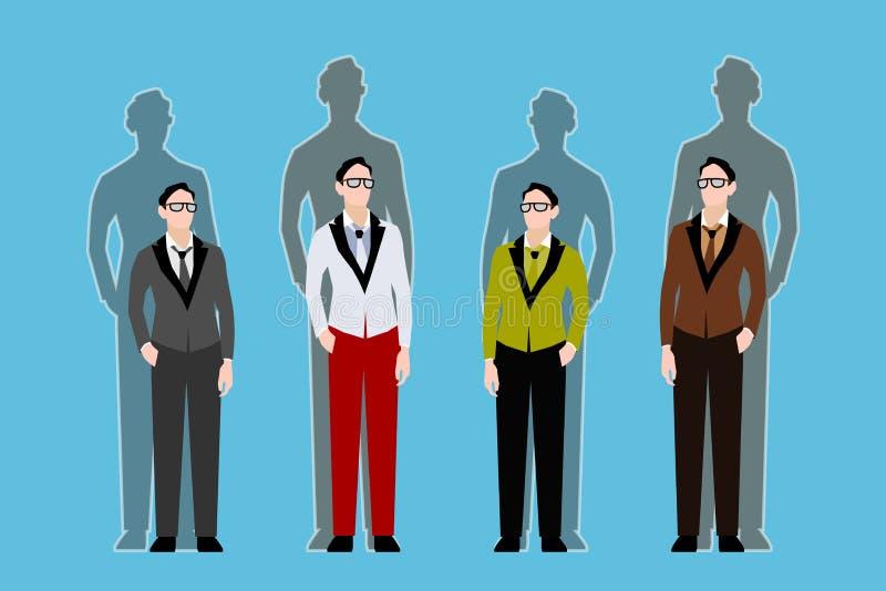 Quattro giovani tipi e le loro ombre dietro loro illustrazione vettoriale