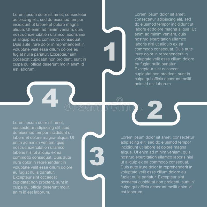 Quattro Grey Piece Puzzle Infographic Punto 4 royalty illustrazione gratis