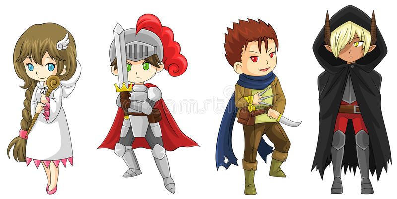 Quattro guerrieri del fumetto di fantasia e caratteri dello stregone messi (vettore) illustrazione di stock