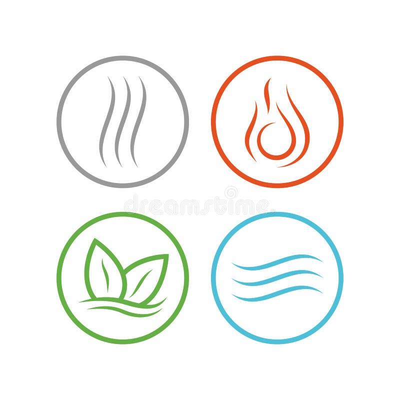 Quattro icone degli elementi di vettore fotografie stock