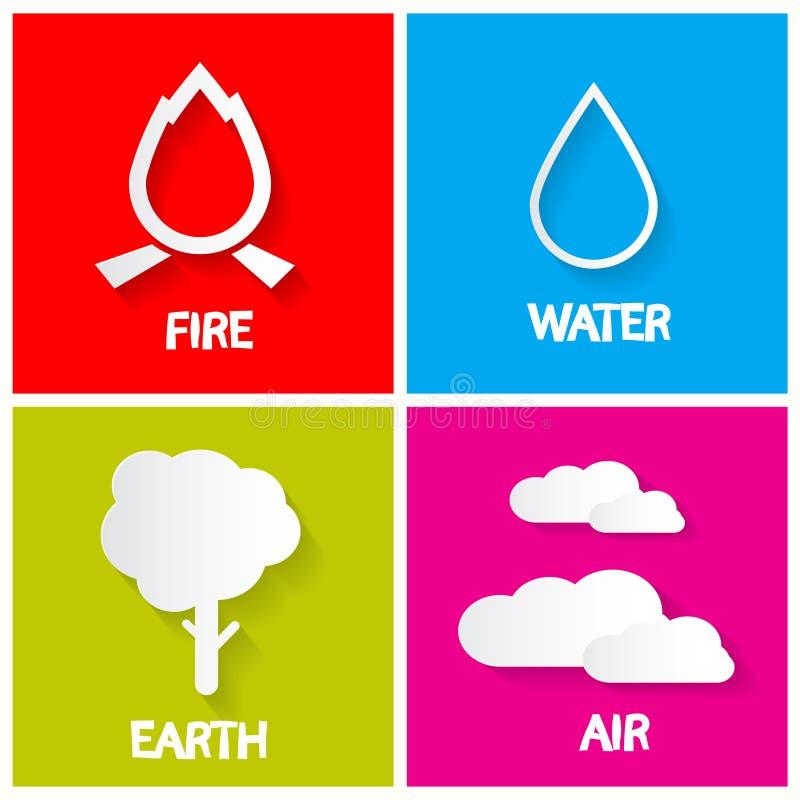 Quattro icone degli elementi messe royalty illustrazione gratis