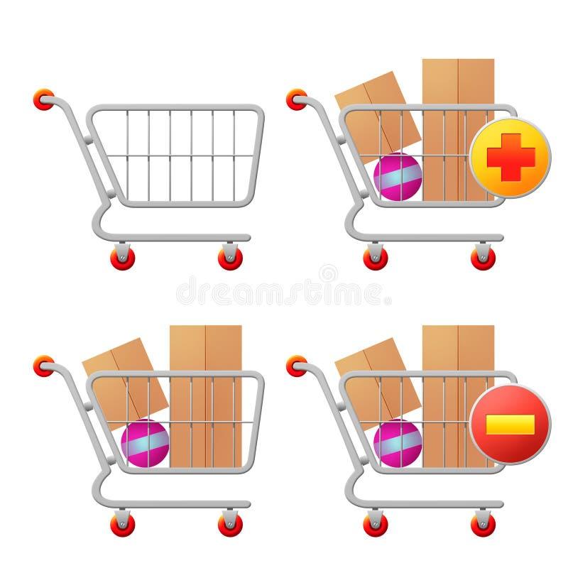 Quattro icone del carrello di acquisto illustrazione vettoriale