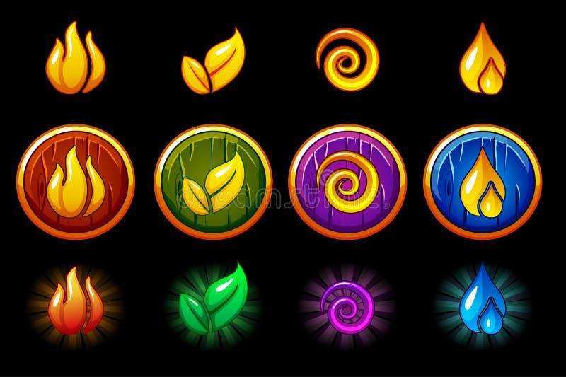Quattro icone della natura degli elementi, insieme rotondo di legno dello schermo Vento, fuoco, acqua, simbolo della terra illustrazione vettoriale