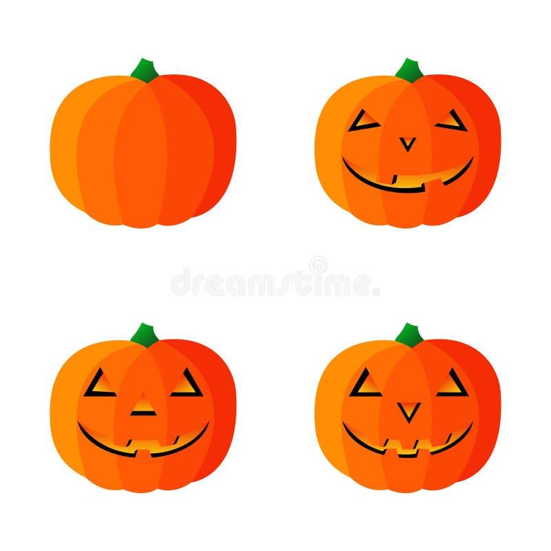 Quattro icone della zucca di vettore per Halloween Illustrazione di vettore Isolato su priorit? bassa bianca illustrazione di stock