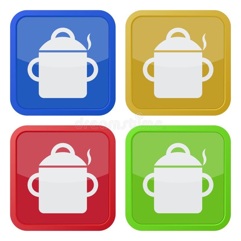 Quattro icone quadrate di colore, cucinanti vaso con fumo royalty illustrazione gratis