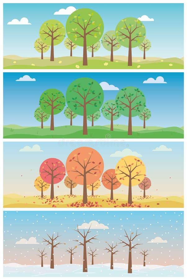 Quattro illustrazioni di vettore dei paesaggi di stagioni messe illustrazione di stock