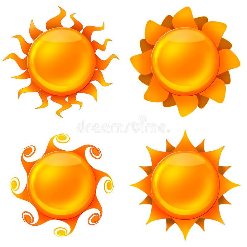 Quattro immagini animated del sole illustrazione vettoriale