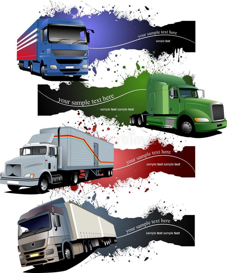 Quattro insegne di lerciume con i camion colorati illustrazione di stock