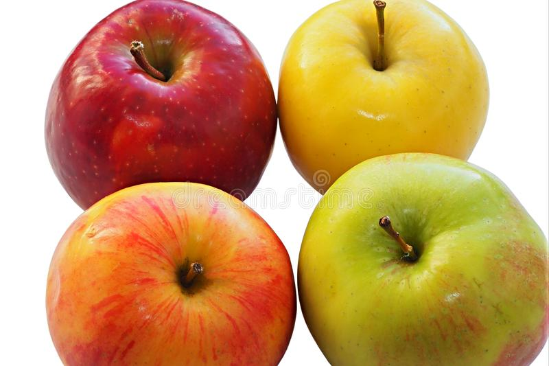 Quattro intere mele dei colori differenti fotografie stock libere da diritti