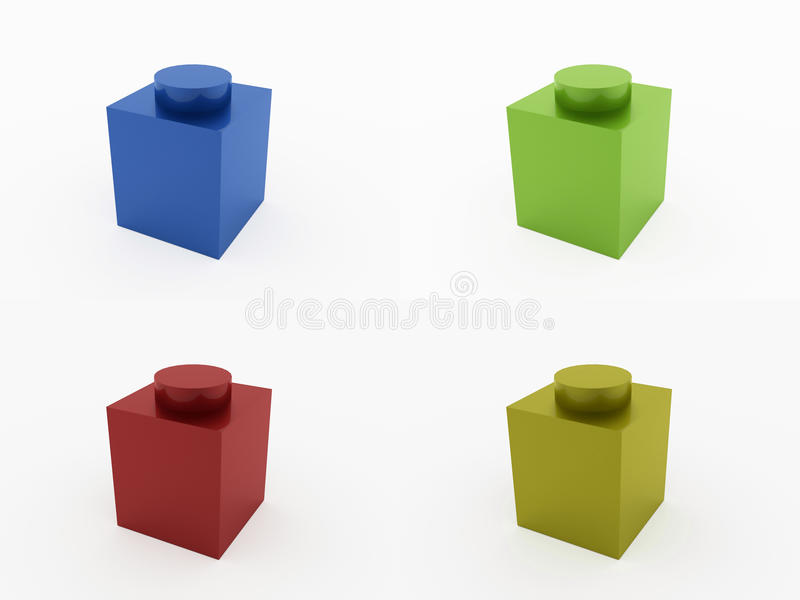 Quattro mattoni del giocattolo colorati isolati su bianco illustrazione di stock