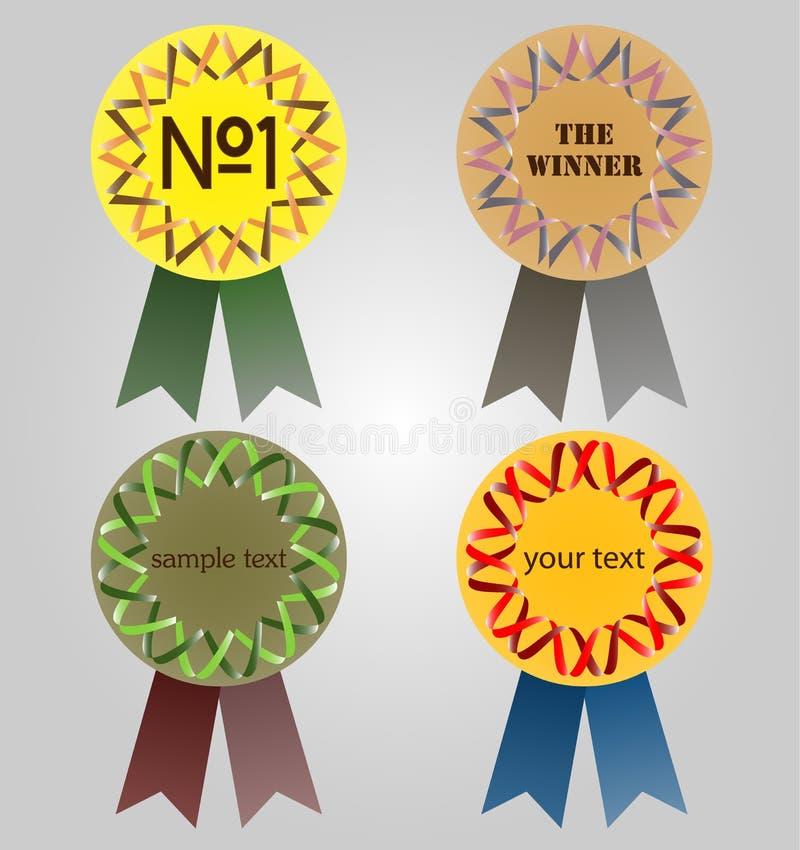 Quattro medaglie illustrazione vettoriale
