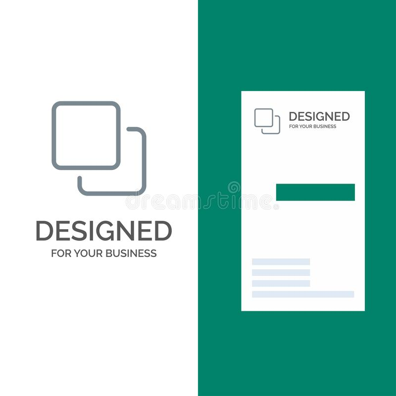 Quattro, media, quadruplo, pila Grey Logo Design e modello del biglietto da visita royalty illustrazione gratis