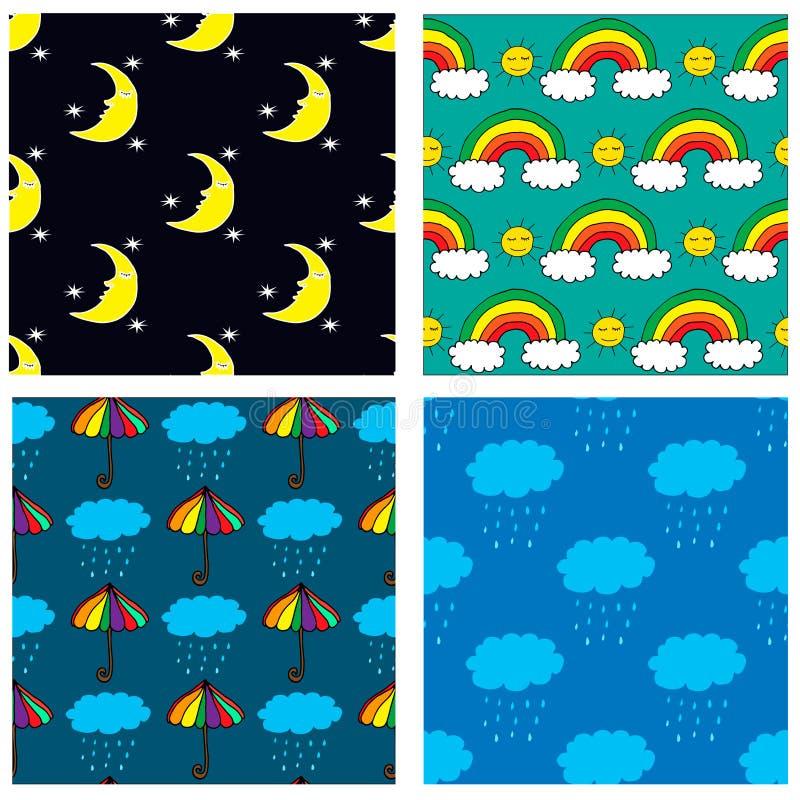 Quattro modelli senza cuciture con la luna, l'arcobaleno, le nuvole e l'ombrello disegnati a mano royalty illustrazione gratis