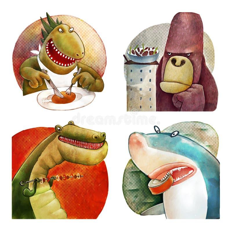 Quattro mostri affamati illustrazione di stock