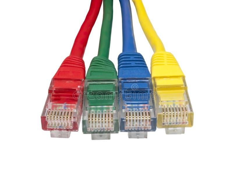 Quattro multi spine colorate della rete di Ethernet fotografia stock libera da diritti